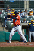 AndrewDyke (28) of the Illinois Fighting Illini at bat against the West Virginia Mountaineers at TicketReturn.com Field at Pelicans Ballpark on February 23, 2020 in Myrtle Beach, South Carolina. The Fighting Illini defeated the Mountaineers 2-1.  (Brian Westerholt/Four Seam Images)