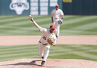 Arkansas Ryan Costeiu (35) throws a pitch, Saturday, April 3, 2021 during the seventh inning of a baseball game at Baum-Walker Stadium in Fayetteville. Check out nwaonline.com/210404Daily/ for today's photo gallery. <br /> (NWA Democrat-Gazette/Charlie Kaijo)