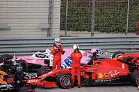 1st November 2020, Imola, Italy; FIA Formula 1 Grand Prix Emilia Romagna, Race Day; Parc ferme: Charles Leclerc MCO 16, Scuderia Ferrari chats with Sebastian Vettel GER 5, Scuderia Ferrari after the race