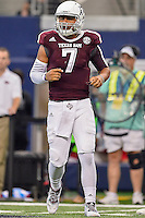 Texas A&M quarterback Kenny Hill (7) looks towards the sideline for a play during NCAA Football game, Saturday, September 27, 2014 in Arlington, Tex. Texas A&M defeated Arkansas 35-28 in overtime. (Mo Khursheed/TFV Media via AP Images)