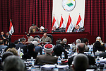 BAGHDAD, IRAQ:<br /> <br /> The Iraqi Parliament in session.  The first Iraqi council of representatives  was elected in 2005 and the current parliament speaker is Ayad Samarayee.<br /> <br /> Photo by Metrography