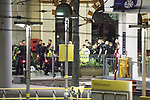 © Joel Goodman - 07973 332324 . 23/05/2017. Manchester, UK. Police and other emergency services tending to injured people on the platform at Victoria Station near the Manchester Arena after reports of an explosion. Police have confirmed they are responding to an incident during an Ariana Grande concert at the venue. Photo credit : Joel Goodman
