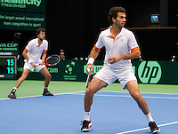 11-02-12, Netherlands,Tennis, Den Bosch, Daviscup Netherlands-Finland, Dubbels, Jean-Julien Rojer en Robin Haase (L)
