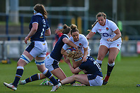 Sarah McKenna of England is tackled during the Guinness Six Nations match between England Women and Scotland Women at Castle Park Stadium, Doncaster, England on 3 April 2021. Photo by Thomas Gadd / PRiME Media Images.