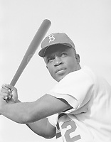 Jackie Robinson with the Brooklyn Dodgers in 1954<br /> <br /> Photo by Bob Sandberg, Look photographer