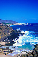 The scenic Halona Cove and Halona Blowhole is a favorite stop for visitors driving the coastline of eastern Oahu.