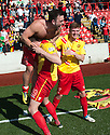Albion Rovers' goal scorers Chris Cadden (7), Gary Fisher (no shirt) and John Gemmell (19) celebrate at the end of the game after winning the SPFL League Two.
