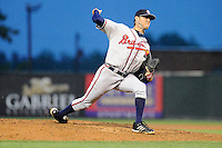 Relief pitcher Brandon Barker (40) of the Rome Braves delivers a pitch in a game against the Greenville Drive on Thursday, July 31, 2014, at Fluor Field at the West End in Greenville, South Carolina. Rome won the rain-shortened game, 4-1. (Tom Priddy/Four Seam Images)