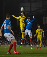 Fleetwood Town's Barrie McKay (left) battles in the air with Portsmouth's Ross McCrorie (right) <br /> <br /> Photographer David Horton/CameraSport<br /> <br /> The EFL Sky Bet League One - Portsmouth v Fleetwood Town - Tuesday 10th March 2020 - Fratton Park - Portsmouth<br /> <br /> World Copyright © 2020 CameraSport. All rights reserved. 43 Linden Ave. Countesthorpe. Leicester. England. LE8 5PG - Tel: +44 (0) 116 277 4147 - admin@camerasport.com - www.camerasport.com