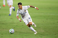 CARSON, CA - OCTOBER 07: Cristian Pavon #10 of the Los Angeles Galaxy moves with the ball during a game between Portland Timbers and Los Angeles Galaxy at Dignity Heath Sports Park on October 07, 2020 in Carson, California.