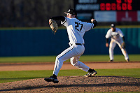 Trey Miller (27) of the University of South Carolina Upstate Spartans pitches in a game against the University of Toledo Rockets on Friday, February 19, 2021, at Cleveland S. Harley Park in Spartanburg, South Carolina. Upstate won, 14-2. (Tom Priddy/Four Seam Images)