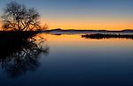 Partially frozen lake in winter at sunrise, Tule Lake National Wildlife Refuge, California