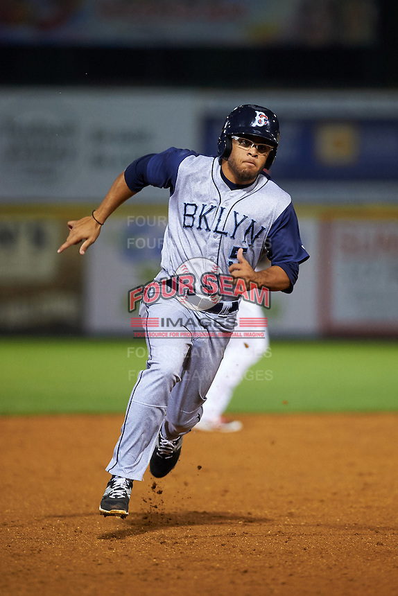 Brooklyn Cyclones outfielder Desmond Lindsay (5) running the bases during a game against the Tri-City ValleyCats on September 1, 2015 at Joseph L. Bruno Stadium in Troy, New York.  Tri-City defeated Brooklyn 5-4.  (Mike Janes/Four Seam Images)