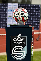 matcball on the Scooore Super League matchball holder pictured during a female soccer game between SV Zulte - Waregem and KRC Genk on the 8 th matchday of the 2020 - 2021 season of Belgian Scooore Women s SuperLeague , saturday 21 th of November 2020  in Zulte , Belgium . PHOTO SPORTPIX.BE | SPP | DIRK VUYLSTEKE