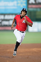 Dante Flores (1) of the Kannapolis Intimidators hustles towards third base against the Hagerstown Suns at Kannapolis Intimidators Stadium on May 4, 2016 in Kannapolis, North Carolina.  The Intimidators defeated the Suns 7-4.  (Brian Westerholt/Four Seam Images)