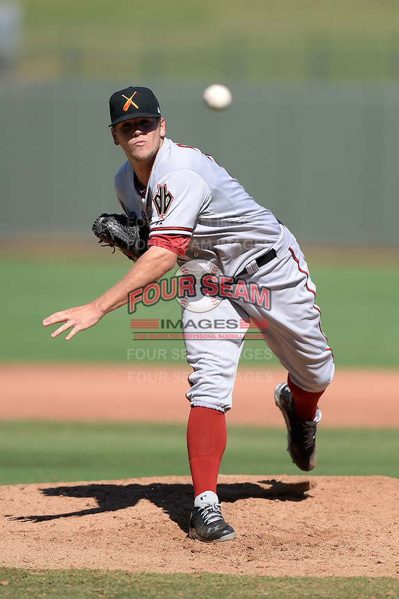 Salt River Rafters pitcher Andrew Chafin (37), of the Arizona Diamondbacks organization, during an Arizona Fall League game against the Surprise Saguaros on October 14, 2013 at Surprise Stadium in Surprise, Arizona.  Salt River defeated Surprise 3-2.  (Mike Janes/Four Seam Images)