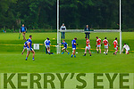 We're back with agony and ecstasy : Daire Cleary Laune Rangers celebrates his goal to the delight his team mates and the disgust of Rathmore players as socially distant supporters watch on from the sidelines during their IFC clash in Killarney Friday evening