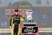 #19: Brandon Jones, Joe Gibbs Racing, Toyota Supra Menards/Turtle Wax in victory lane