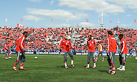 11 April 2009: Toronto FC players warm-up during MLS action at BMO Field Toronto, in a game between FC Dallas and Toronto FC. .Final score was a 1-1 draw.