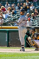 Mac Williamson (7) of the Sacramento River Cats at bat against the Salt Lake Bees in Pacific Coast League action at Smith's Ballpark on May 01, 2016 in Salt Lake City, Utah. Sacramento defeated Salt Lake 16-6.  (Stephen Smith/Four Seam Images)