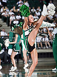 A North Texas Mean Green cheerleader performs a high kick during the NCAA Women's basketball game between the South Alabama Jaguars and the University of North Texas Mean Green at the North Texas Coliseum,the Super Pit, in Denton, Texas. South Alabama defeated UNT 79 to 61.