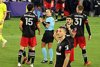 NASHVILLE, TN - SEPTEMBER 23: Steven Birnbaum #15 and Julian Gressel #31 of DC United argue with referee Tori Penso after a Nashville goal during a game between D.C. United and Nashville SC at Nissan Stadium on September 23, 2020 in Nashville, Tennessee.