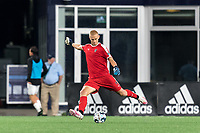 FOXBOROUGH, MA - SEPTEMBER 1: Wallis Lapsley #1 of FC Tucson passes the ball during a game between FC Tucson and New England Revolution II at Gillette Stadium on September 1, 2021 in Foxborough, Massachusetts.