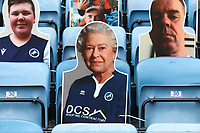 A cardboard cutout with the face of the Queen looks on during Millwall vs Middlesbrough, Sky Bet EFL Championship Football at The Den on 8th July 2020