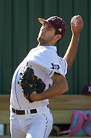 Texas A&M Aggie starting pitcher Michael Wacha warms up prior to the NCCAA Regional tournament baseball game against the Dayton Flyers on June 1, 2012 at Blue Bell Park in College Stateion, Texas. The Aggies defeated the Flyers 4-1. (Andrew Woolley/Four Seam Images).