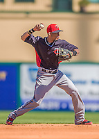4 March 2013: Minnesota Twins infielder Pedro Florimon in action during a Spring Training game against the St. Louis Cardinals at Roger Dean Stadium in Jupiter, Florida. The Twins shut out the Cardinals 7-0 in Grapefruit League play. Mandatory Credit: Ed Wolfstein Photo *** RAW (NEF) Image File Available ***