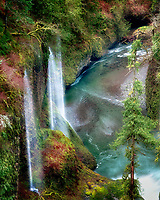 Seasonal waterfalls (unnamed) into Eagle Creek. Columbia River Gorge National Scenic Area, Oregon