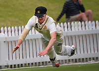 Ollie Newton tries to prevent a boundary during day four of the Plunket Shield match between the Wellington Firebirds and Auckland Aces at the Basin Reserve in Wellington, New Zealand on Tuesday, 17 November 2020. Photo: Dave Lintott / lintottphoto.co.nz