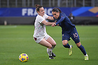 Swiss Thais Hurni (16) and French Amel Majri (10) pictured during the 2nd Womens International Friendly game between France and Switzerland at Stade Saint-Symphorien in Longeville-lès-Metz, France.