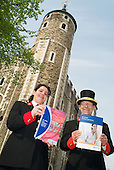White Tower Warden Anna Nohales and Jewel House Warden Bob Paice with LearnDirect materials outside the Learning Centre at the Tower of London.