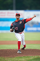 Batavia Muckdogs starting pitcher Manuel Rodriguez (47) delivers a warmup pitch during a game against the Auburn Doubledays on July 6, 2017 at Dwyer Stadium in Batavia, New York.  Auburn defeated Batavia 4-3.  (Mike Janes/Four Seam Images)