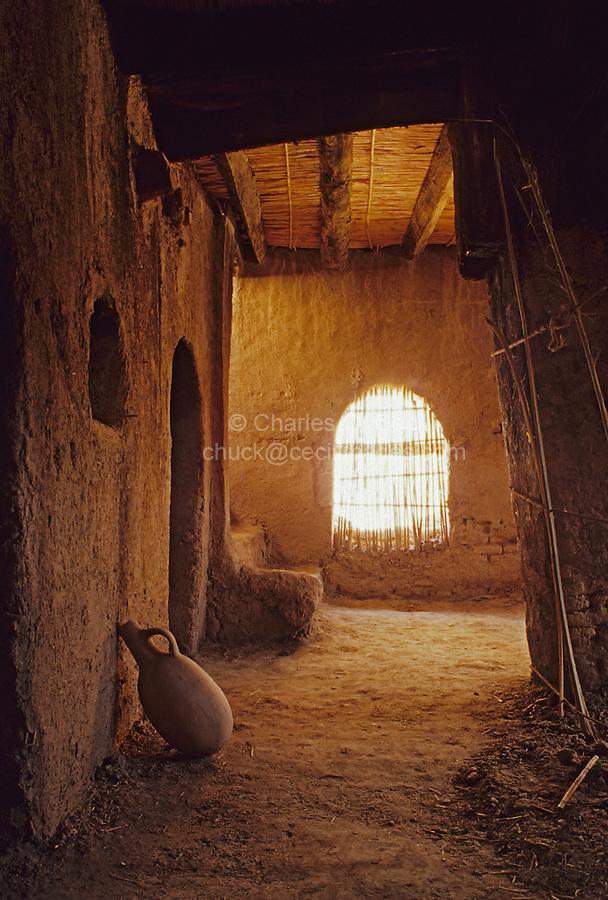 Near Skoura, Morocco - Interior Room and Water Jug, Kasbah Ameridhil.