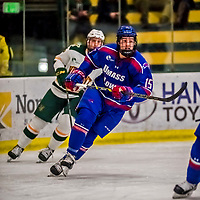 19 January 2018: University of Massachusetts Lowell Riverhawks Forward Ryan Dmowski, a Junior from East Lyme, CT, in first period action against the University of Vermont Catamounts at Gutterson Fieldhouse in Burlington, Vermont. The Riverhawks rallied to defeat the Catamounts 3-2 in overtime of their Hockey East matchup. Mandatory Credit: Ed Wolfstein Photo *** RAW (NEF) Image File Available ***