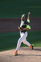 Charles King (29) of the West team pitches during the 2015 Perfect Game All-American Classic at Petco Park on August 16, 2015 in San Diego, California. The East squad defeated the West, 3-1. (Larry Goren/Four Seam Images)