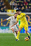Daniel Carvajal Ramos of Real Madrid competes for the ball with  Bruno Soriano Llido (r) of Villarreal CF during their La Liga match between Villarreal CF and Real Madrid at the Estadio de la Cerámica on 26 February 2017 in Villarreal, Spain. Photo by Maria Jose Segovia Carmona / Power Sport Images
