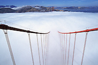 The view from top of  tower on the Golden Gate Bridge.  Landscapes show the bridge and Marin Headlands to the north. The bridge is part of the Golden Gate National Recreation Area...