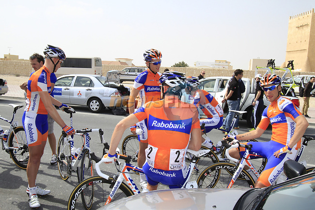 Rabobank Cycling Team riders before the start of Stage 1 of the Tour of Qatar 2012 running 142.5km from Barzan Towers to Doha Golf Club, Doha, Qatar. 5th February 2012.<br /> (Photo by Eoin Clarke/NEWSFILE).