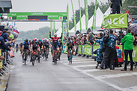 Victory for Edward Theuns (BEL/Trek Segafredo). He wins the sprint ahead of Marco Kump (SLO/UAE) and Tim Merlier (BEL/Veranda's WIllems-Crelan)<br /> <br /> Binckbank Tour 2017 (UCI World Tour)<br /> Stage 4: Lanaken > Lanaken (BEL) 155km