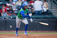 D.J. Burt (2) of the Lexington Legends starts down the first base line during the game against the Hickory Crawdads at L.P. Frans Stadium on April 29, 2016 in Hickory, North Carolina.  The Crawdads defeated the Legends 6-2.  (Brian Westerholt/Four Seam Images)