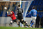 St Johnstone v Motherwell....25.02.14    SPFL<br /> Gary Miller fires in the third goal<br /> Picture by Graeme Hart.<br /> Copyright Perthshire Picture Agency<br /> Tel: 01738 623350  Mobile: 07990 594431