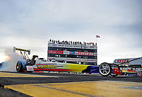 Aug. 19, 2011; Brainerd, MN, USA: NHRA top fuel dragster driver Cory McClenathan during qualifying for the Lucas Oil Nationals at Brainerd International Raceway. Mandatory Credit: Mark J. Rebilas-