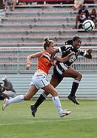 BOYDS, MARYLAND - July 22, 2012:  Tiffany Brown (9) of DC United Women pulls away from Paige Lanter (14) of the Charlotte Lady Eagles during the W League Eastern Conference Championship match at Maryland Soccerplex, in Boyds, Maryland on July 22. DC United Women won 3-0.