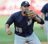 10 April 2008: Cesar Nicolas of the Mobile BayBears, Class AA affiliate of the Arizona Diamondbacks, in a game against the Mississippi Braves at Trustmark Park in Pearl, Miss. Photo by:  Tom Priddy/Four Seam Images