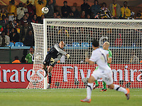 U.S. goalkeeper Tim Howard begins the winning goal sequence by a long throw distribution to midfielder Landon Donovan. The United States won Group C of the 2010 FIFA World Cup in dramatic fashion, 1-0, over Algeria in Pretoria's Loftus Versfeld Stadium, Wednesday, June 23rd..