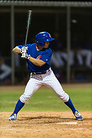 AZL Cubs 1 shortstop Clayton Daniel (25) at bat during an Arizona League game against the AZL Padres 1 at Sloan Park on July 5, 2018 in Mesa, Arizona. The AZL Cubs 1 defeated the AZL Padres 1 3-1. (Zachary Lucy/Four Seam Images)