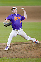 Geoffrey Gilbert (23) of the Clemson Tigers delivers a pitch in a fall Orange-Purple intrasquad scrimmage on Friday, November 13, 2020, at Doug Kingsmore Stadium in Clemson, South Carolina. (Tom Priddy/Four Seam Images)